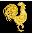 golden rooster on black vector image