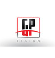 gp g p logo letters with red and black colors and vector image vector image