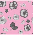 grayscale hibiscus seamless pattern pink vector image vector image