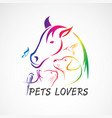 group pets - horse dog cat bird butterfly vector image vector image
