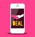 handshake business deal symbol on mobile phone vector image vector image