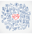 Health care doodle icons background vector image vector image