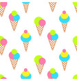 ice cream cones on white bright seamless pattern vector image vector image