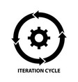 iteration cycle icon black sign