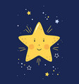 little star with smiling face in starry sky vector image