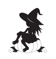 Little witch and pumpkin silhouette vector image vector image