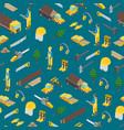 lumberman woodcutter seamless pattern background vector image