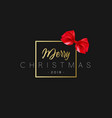 merry christmas with red bow in frame luxury vector image vector image