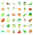 natural riches icons set cartoon style vector image