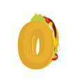 number 0 tacos mexican fast food font zero taco vector image vector image