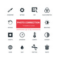 photo correction - flat design style icons set vector image