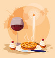 pie with cup wine for thanksgiving day vector image