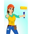 plasterer woman with paint roller vector image vector image