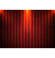 red curtain background with spotlight in theater vector image