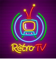 retro tv neon icon vector image vector image