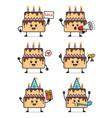 set cake character design vector image