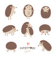 set of cute hedgehogs vector image vector image