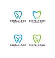 set tooth dental logo template vector image