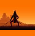 silhouette a samurai vector image