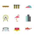 Singapore icons set flat style vector image vector image