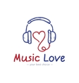 sketch style music store logo Headphones vector image vector image