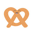 soft pretzel icon sweet salted bakery pastry cute vector image vector image