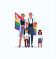 two young mothers lesbians with daughters holding vector image