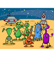Ufo aliens group cartoon vector image
