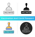 vaccinated stamp icon vector image