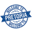 Welcome to Pretoria blue round ribbon stamp