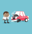 young african businessman suffers from a car vector image