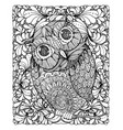 zentangle style owl with background vector image