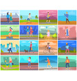 adult and children outdoor people activity vector image vector image