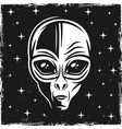 alien head on dark background with stars vector image vector image