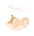 baby shower card with pretty girl sleeping vector image vector image