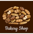 Bakery shop emblem in shape of bread loaf vector image vector image