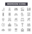 bedroom line icons for web and mobile design vector image