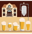 brewery building beer various glasses foam vector image