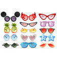 carnival glasses realistic set vector image