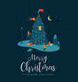 christmas card of people making pine tree at night vector image vector image