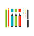 colored marker school supply highlighters vector image