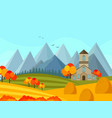 contryside autumn season with mountains background vector image vector image