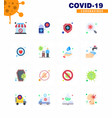 coronavirus prevention set icons 16 flat color vector image vector image