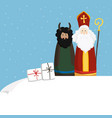 cute st nicholas with devil gift boxes and vector image vector image