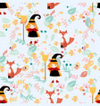 cute witch and fox in floral seamless pattern vector image