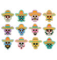day dead skull icon mexican holiday design vector image
