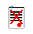 documents reject icon sign office symbol contract vector image