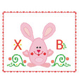 easter card embroidered hare in a red frame on a vector image