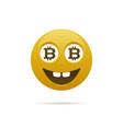 emoticon with bitcoin vector image vector image