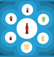 flat icon soda set of carbonated cup bottle and vector image vector image